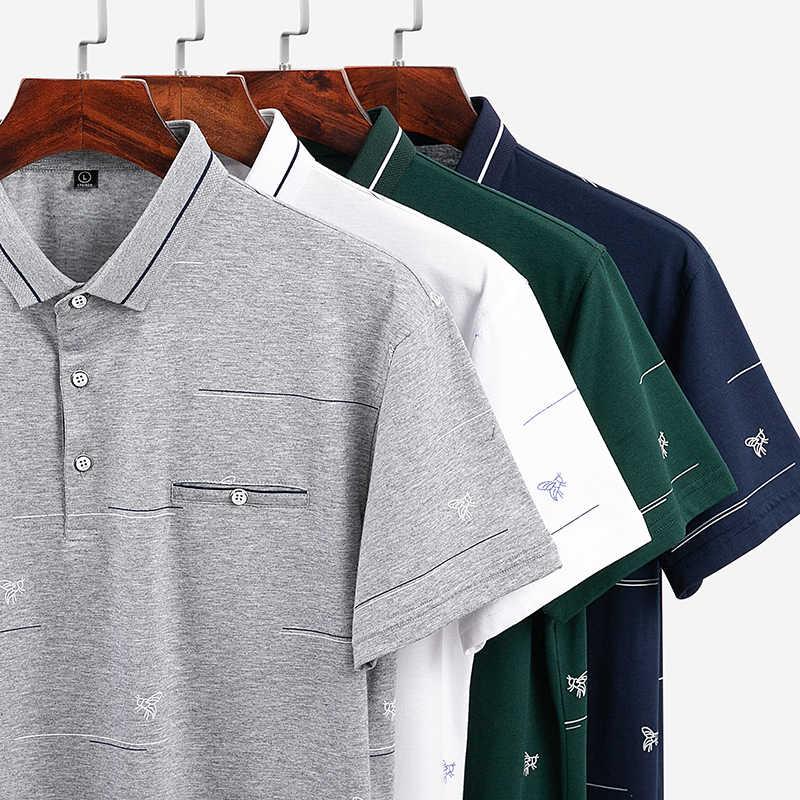 Hoge Kwaliteit Tops & Tees mannen Polo shirts Business mannen merken Polo Shirts 3D borduurwerk Turn-down kraag heren polo shirt 8310
