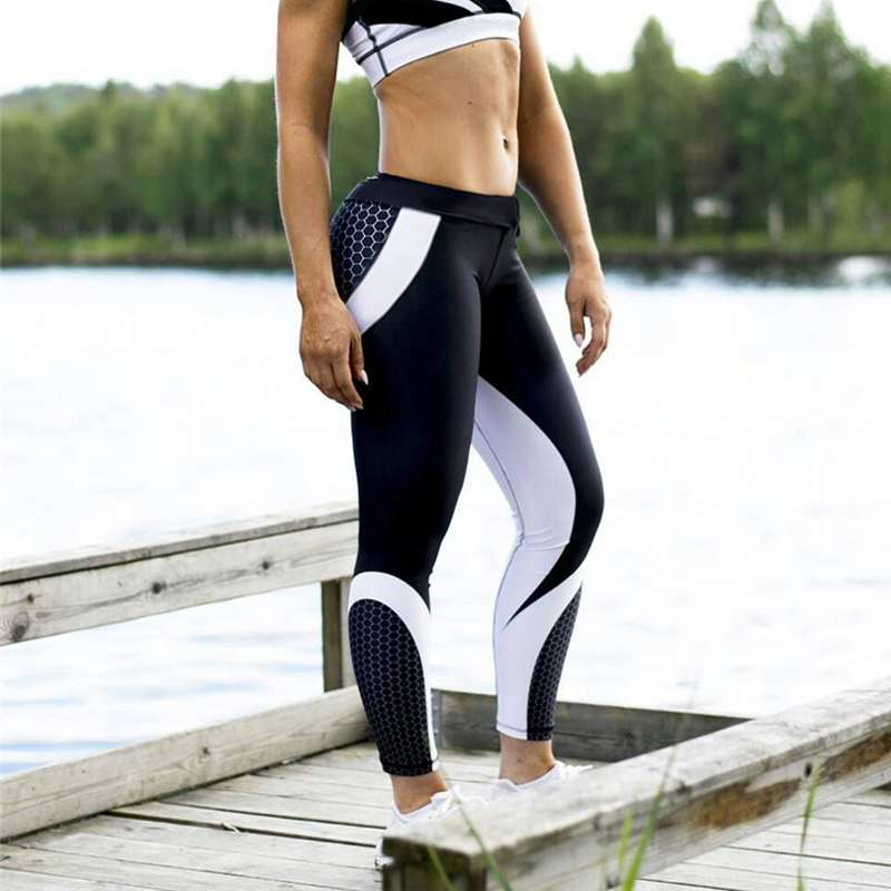 Sexy Women   Leggings   Gothic Workout Push Up Fitness Sexy   Leggings   High Waist Plus Size Jeggings Black white Activewear tayt