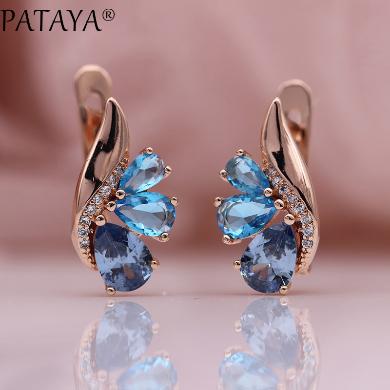 HTB1cBObXsfrK1Rjy0Fmq6xhEXXaS - PATAYA New Three Water Drop Gradient Blue Earrings Women Natural Zircon Party Fine Fashion Jewelry 585 Rose Gold Dangle Earrings