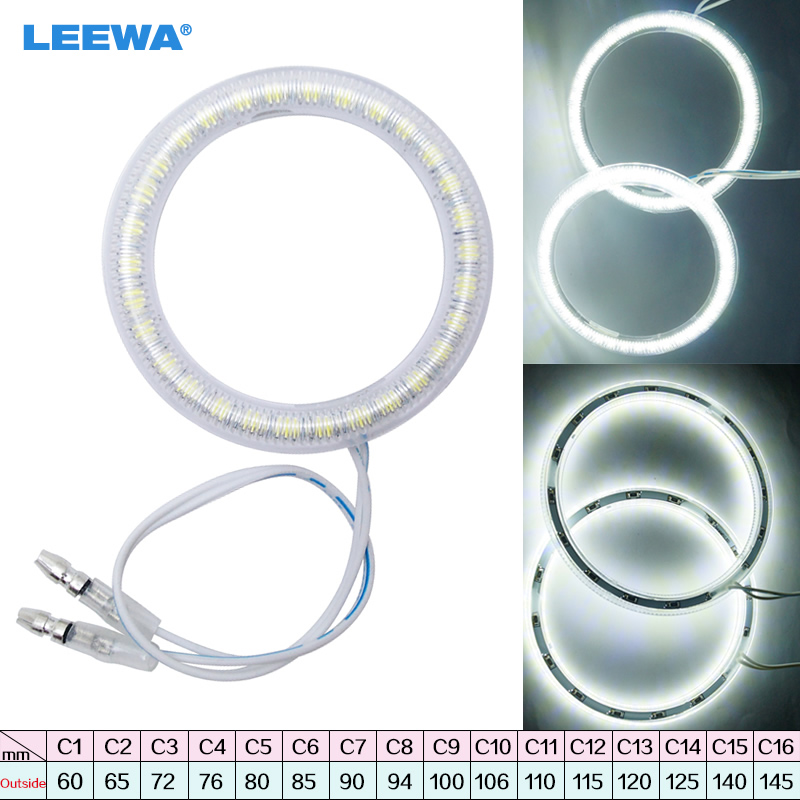 LEEWA 1pc Universal Car LED Halo Rings Angel Eyes DRL Head Lamp Multi-Size for Choice White #CA1445 ...