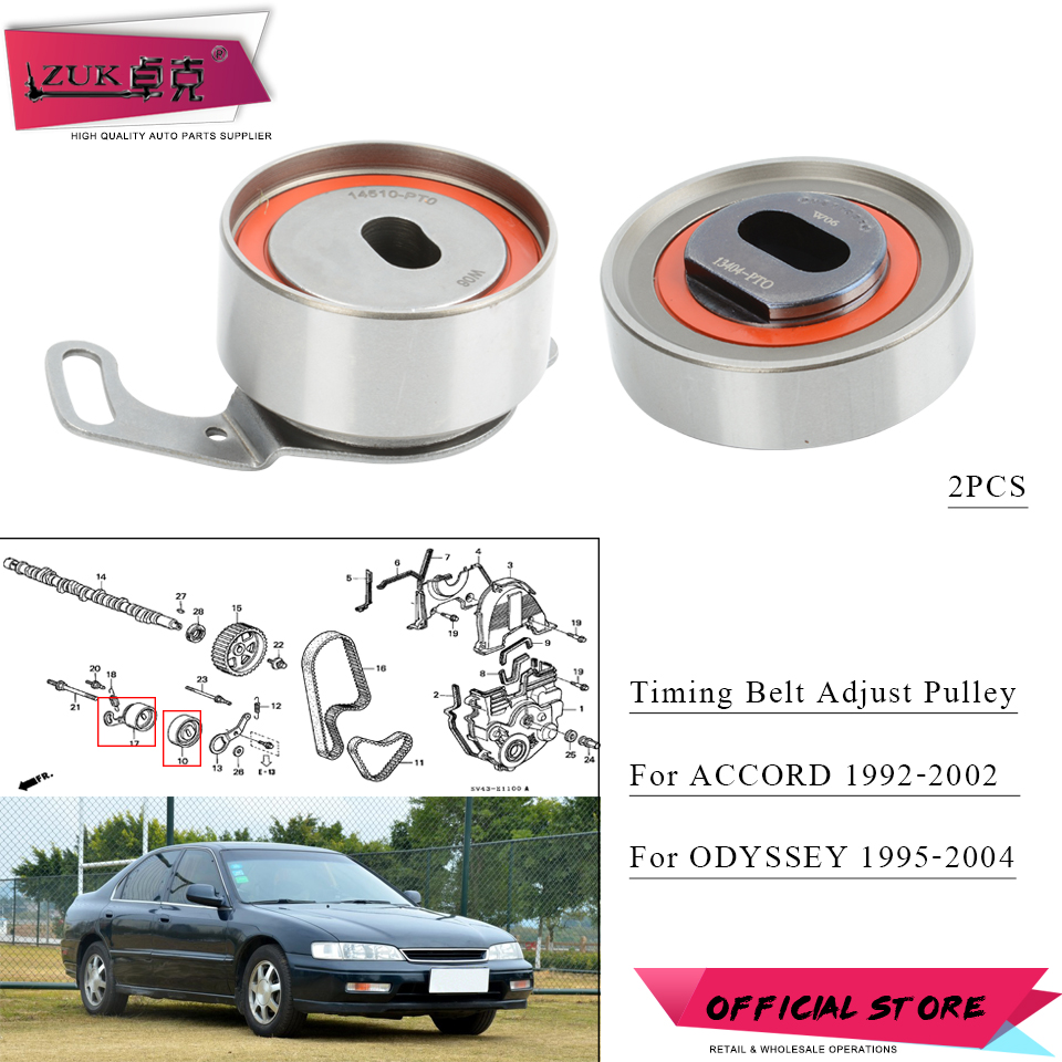 Zuk 2pcs Timing Belt Balancer Tensioner Adjuster Pulley For 2002 Mazda 626 Honda Accord 1992 20l 22l 23l Odyssey 1995 2004 In Components From