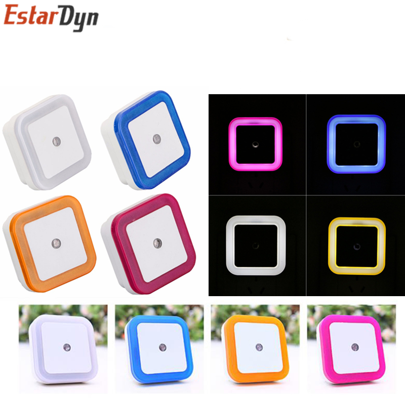 Light Sensor AUTO Control Mini Night Light EU US Plug Novelty Square Baby Kids Bedroom Lamp Moon Romantic Colorful Lights Blubs