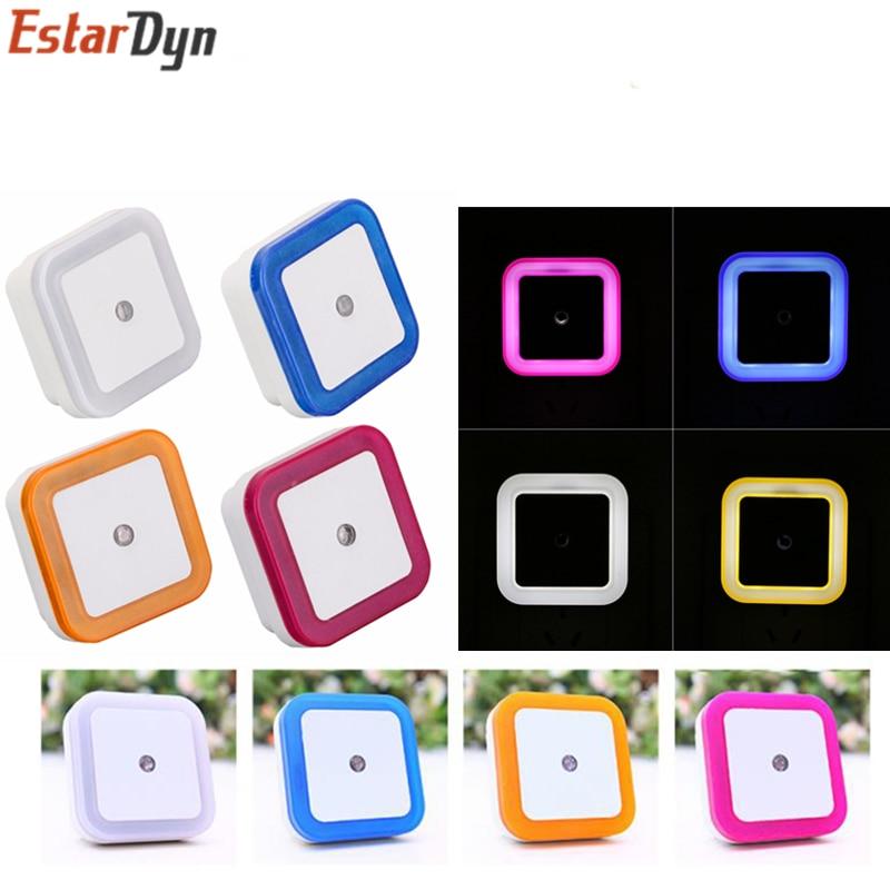 Light Sensor AUTO Control Mini Night Light EU US Plug Novelty Square Baby Kids Bedroom Lamp Moon Romantic Colorful Lights Blubs