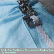 Caliente cinta de cordón elástico tela estiramiento doméstico máquina de coser parte accesorios prensatelas #9907-6 7YJ26-2