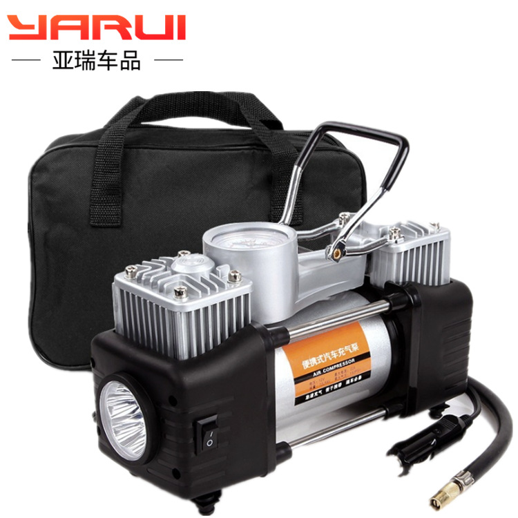 Factory Direct Sales Vehicle Inflatable Pump Double Cylinder 12V Sedan Car Electric High Pressure Tires Portable