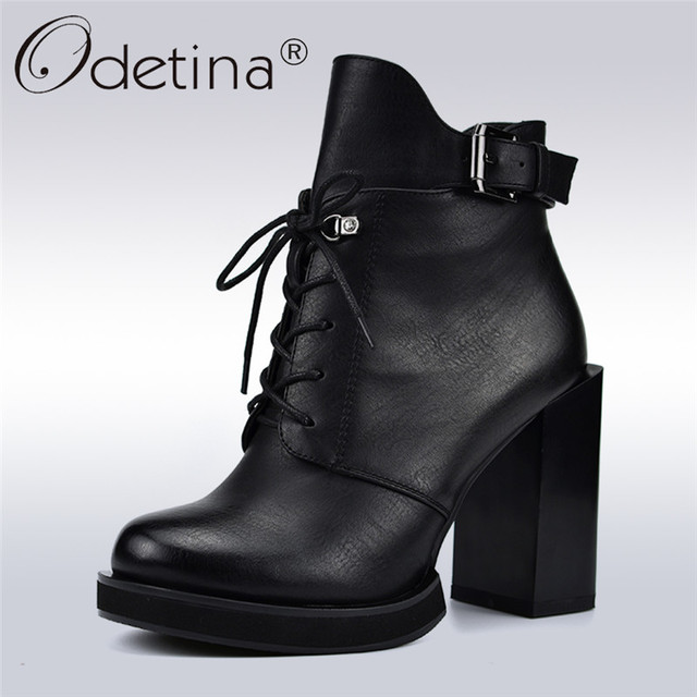 Odetina/Новые Модные женские ботинки на шнуровке женские ботильоны на квадратном высоком каблуке 10 см с боковой молнией и пряжкой на ремешке осенне-зимняя обувь из плюша