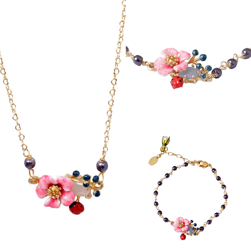 France Dyxytwe High Quality Enamel Glaze Color Flower Gem Bracelet Bangle Necklace Sets 2018 shipping free enamel lovers bird parrot simple flower dyxytwe style fashion necklace for women