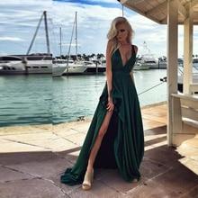 Tiefem V-ausschnitt Sexy Abendkleider Hohe Trotz Spaghetti Sleeveless Abendkleider robe de soiree longue A Line Abendkleider kleid