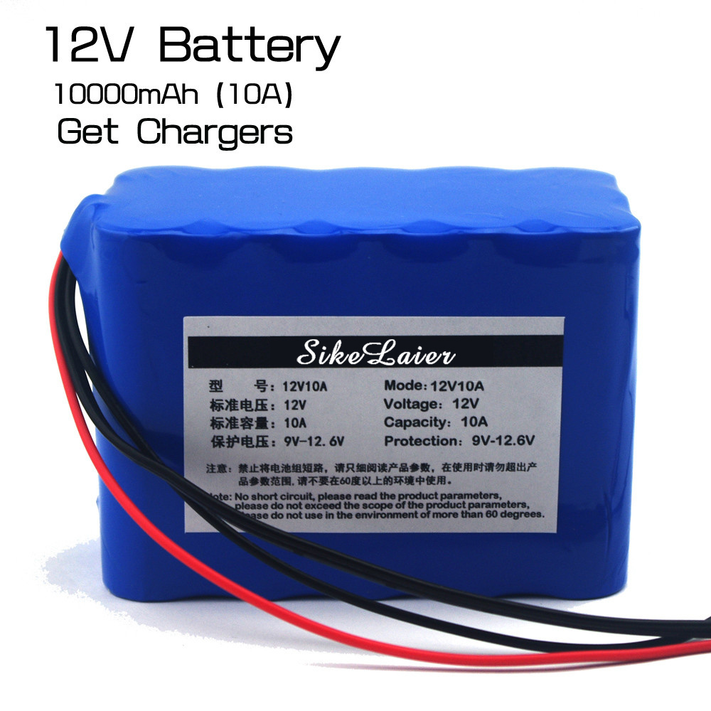 Large capacity <font><b>12V</b></font> <font><b>10ah</b></font> 18650 <font><b>lithium</b></font> <font><b>battery</b></font> protection board <font><b>12V</b></font> 10,000 power + <font><b>12V</b></font> 3A charger image