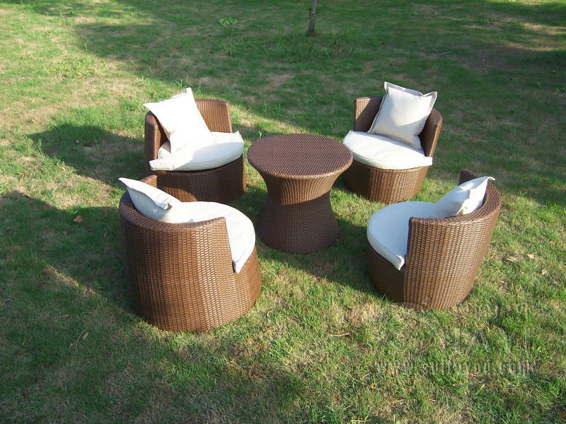 Hot sale good quality Garden PE rattan furniture Patio aluminum frame furniture set leisure chair for outdoor transport by sea high quality rattan stool leisure dia32 h42 cm