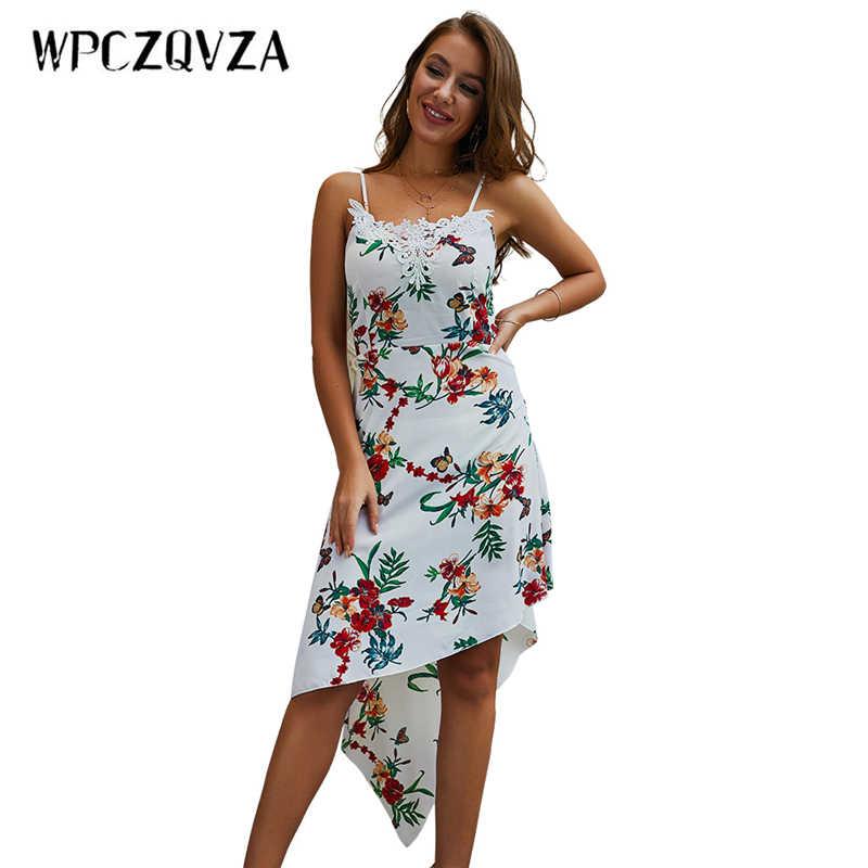 WPCZQVZA несимметричные бретели Цветочный принт Для женщин летние пикантные Винтаж кружевное платье элегантные модные женские классические пляжные платье на бретелях