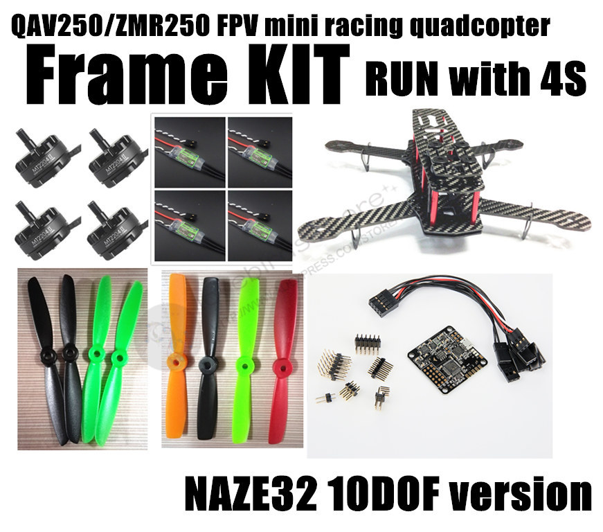DIY mini drone FPV race quadcopter QAV250 / ZMR250 pure carbon fiber frame run with 4S kit NAZE32 10DOF + EMAX MT2204 II 2300KV