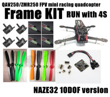 DIY mini drone FPV race quadcopter QAV250 / ZMR250 pure carbon fiber frame run with 4S kit NAZE32 10DOF + EMAX MT2204 II 2300KV