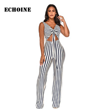 цена на White and Black Striped Print Jumpsuit Wrap Lace Up Slim Elegant Party Rompers Jumpsuit Wide Leg Backless Playsuit Overalls Crop