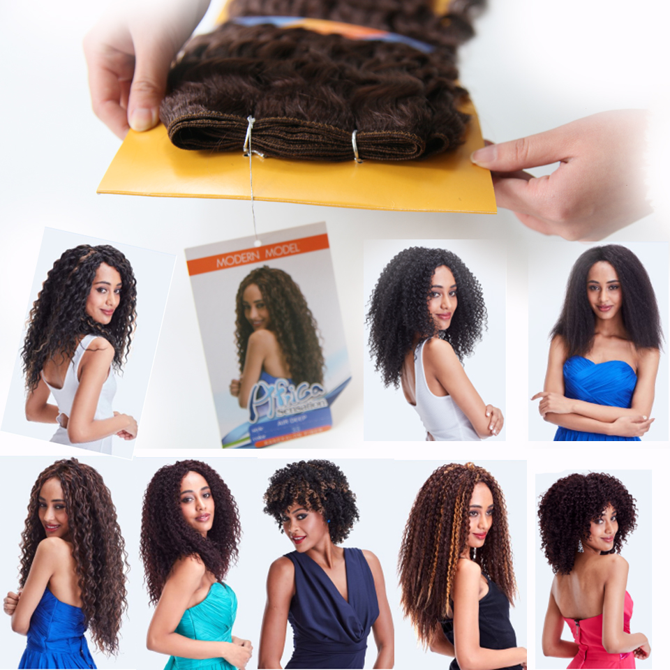 6pcslot Jazz Wave Color1b4 Synthetic Hair Extensions 200g Short
