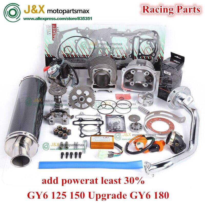 GY6 125 150 montant GY6 180cc 4 temps alésage 58.5MM cylindre KIT course A14 arbre à cames carburateur CDI bobine d'échappement