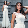 Simple Long White Lace Beach Bridesmaid Dresses Wedding Party Gown Dress For Wedding Formal lllusion Neckline Chiffon Dress Plus