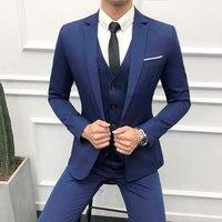 3piece Suit Men Autumn Winter New Navy Blue Suit For Man Slim Fit Wedding Suits For Men Plus Size Groom Dress Tuxedo 6XL S Sale