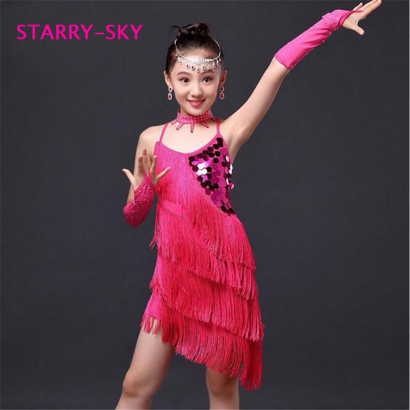 5649b7b07af New 2016 Junior Sequin Fringe Latin Salsa Dresses Children Girls Dance  Costumes For Kids Ballroom Dancing Dancewear Wholesale