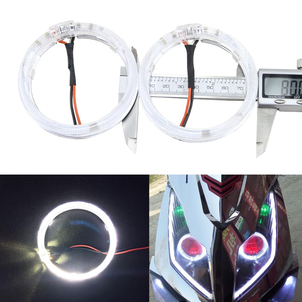 1 Pair White 80MM 100mm 105mm Outdiameter Cree 2 Led Chips Optical Guide Angel Eyes Light For Cars Motor Headlight 12V No error
