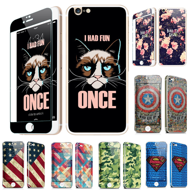 Cartoon Grumpy Cat Front + Back Tempered Glass Full Body Screen Protector for iPhone SE 5S 6 6S 7 Plus Army Camo Fundas Sleeves