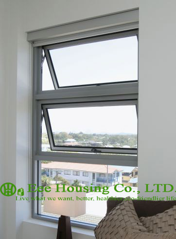 Clear Tempered Safety Glass Aluminum Awning Window For Apartment / Villas, White Color Aluminum Frame