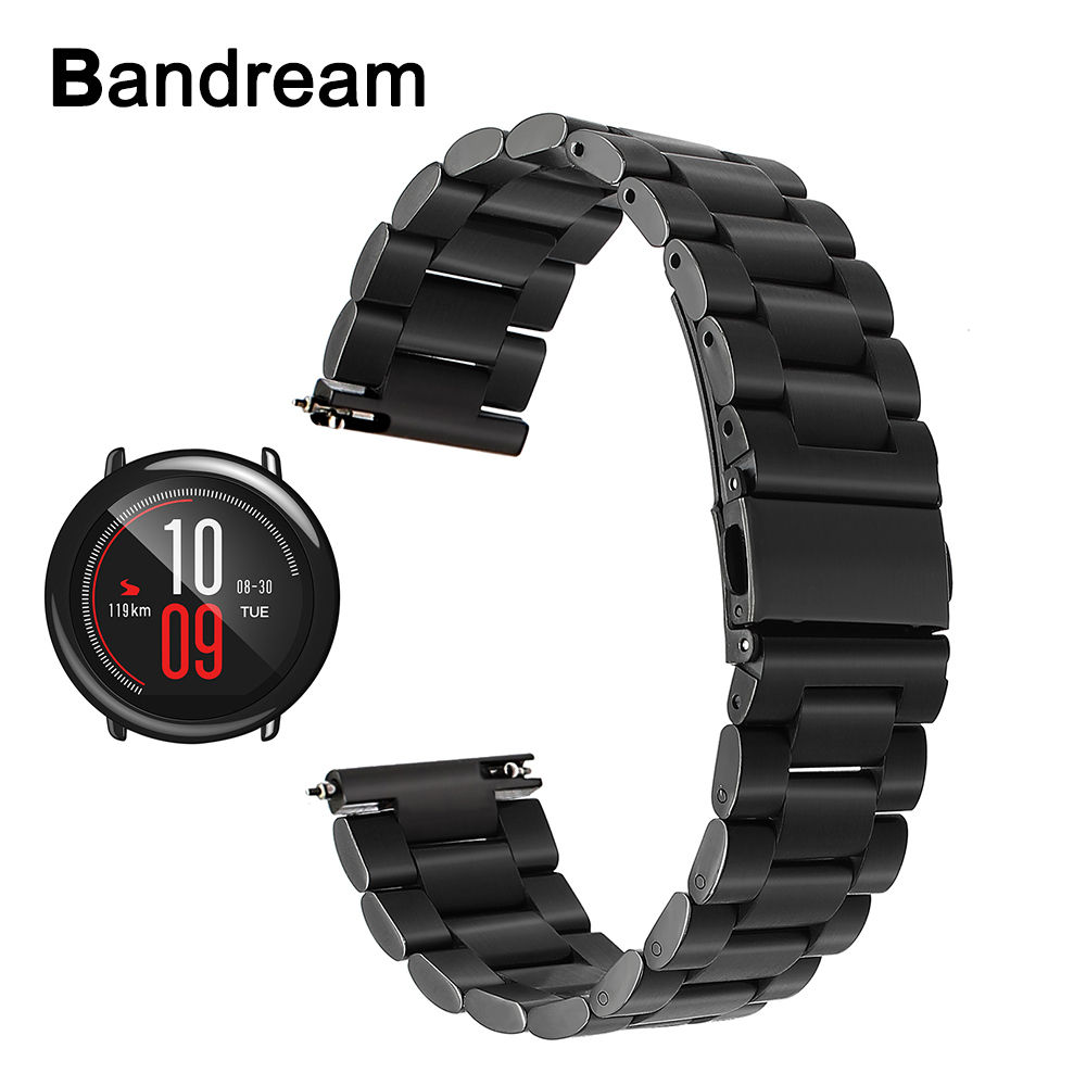 Quick Release Stainless Steel Watchband 22mm for Xiaomi Huami Amazfit Wristband Smart Watch Band Metal Strap Wrist Belt Bracelet jansin 22mm watchband for garmin fenix 5 easy fit silicone replacement band sports silicone wristband for forerunner 935 gps