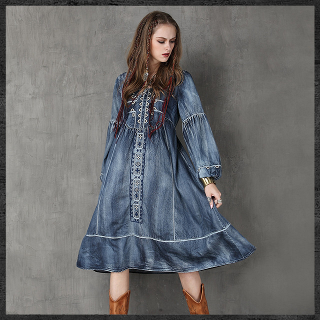 Native American style denim dresses Women  s ethnic vintage jeans Dress  Boho embroidery big hems dress plus size dress hot sale 7307ee1eab7c