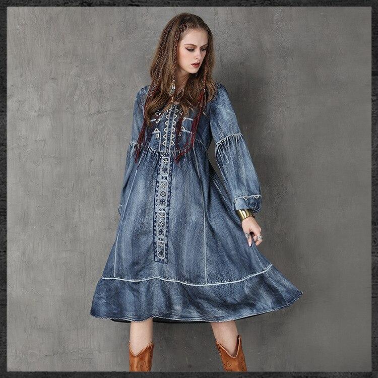 Native Boho Ethnique Vintage Broderie American Taille Robes Chaude Grands Vente Femmes Plus Style La Jeans Denim Bleu Robe Ourlets De YwrqY0