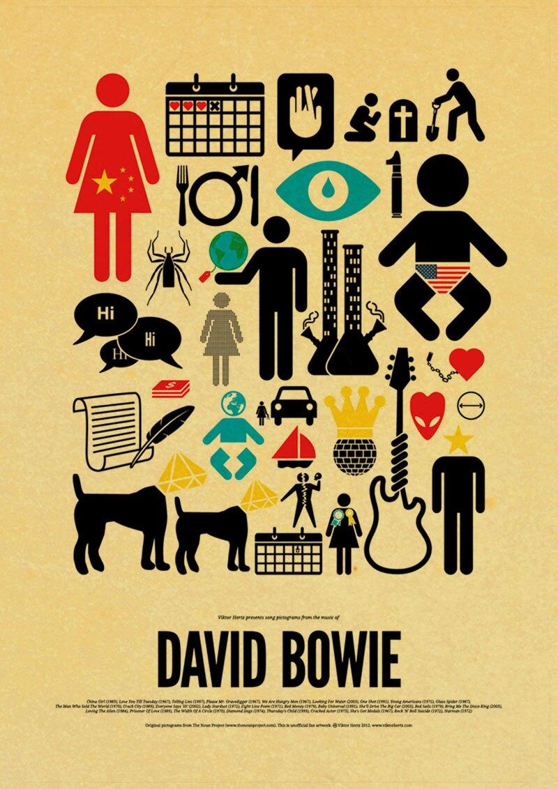 Vintage home decoration David Bowie rock music poster comic retro ...