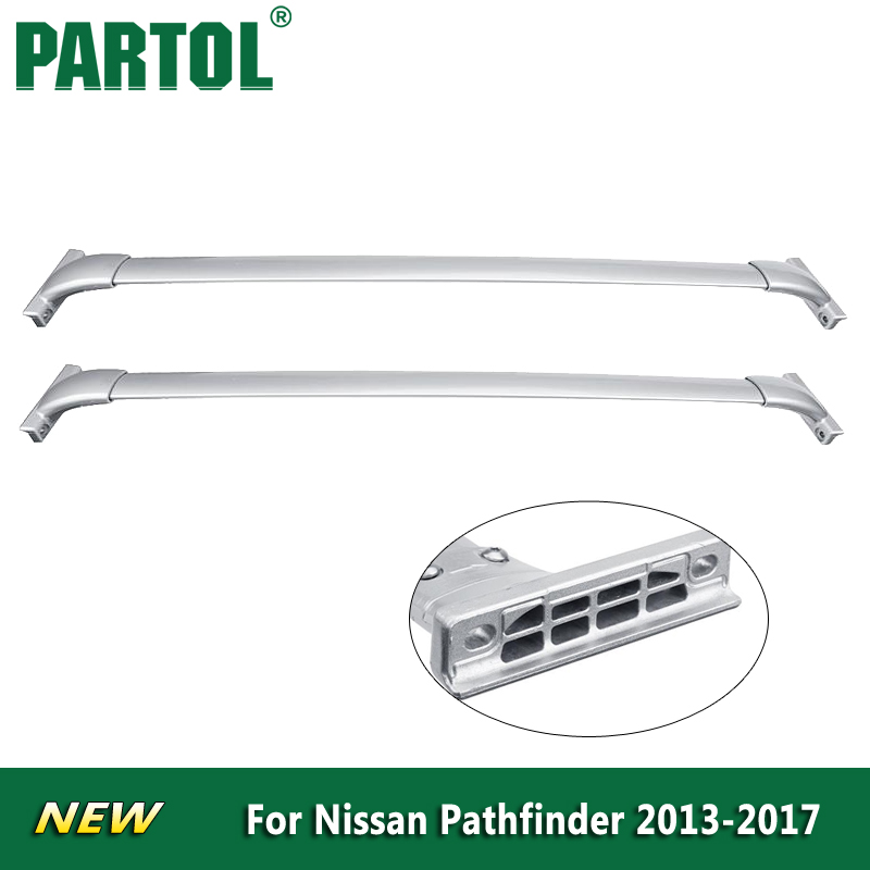 Partol Silver <font><b>Car</b></font> Roof Rack Cross Bars Luggage Carrier Bike Rack Cargo Basket For Nissan Pathfinder 2013 2014 2015 2016 2017