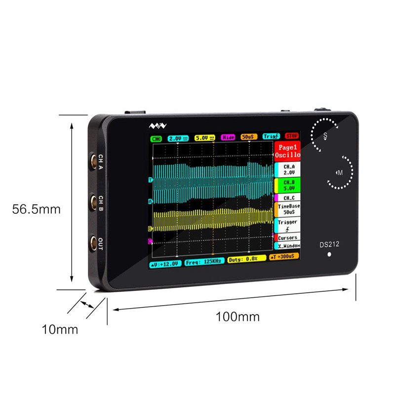 JFBL Hot Mini ARM DSO212 DS212 Portable Digital Storage Oscilloscope Two Channels sample rate 10msa/s image
