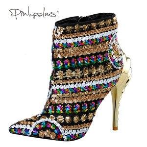 Image 2 - العلامة التجارية الوردي النخيل أحذية النساء أحذية الشتاء الذهب الترتر القماش عالية الكعب حذاء من الجلد للنساء أشار تو أحذية النساء الموضة