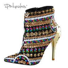 4cf686297bbad Brand Pink Palms women winter shoes gold color sequined cloth high heels ankle  boots pointed toe