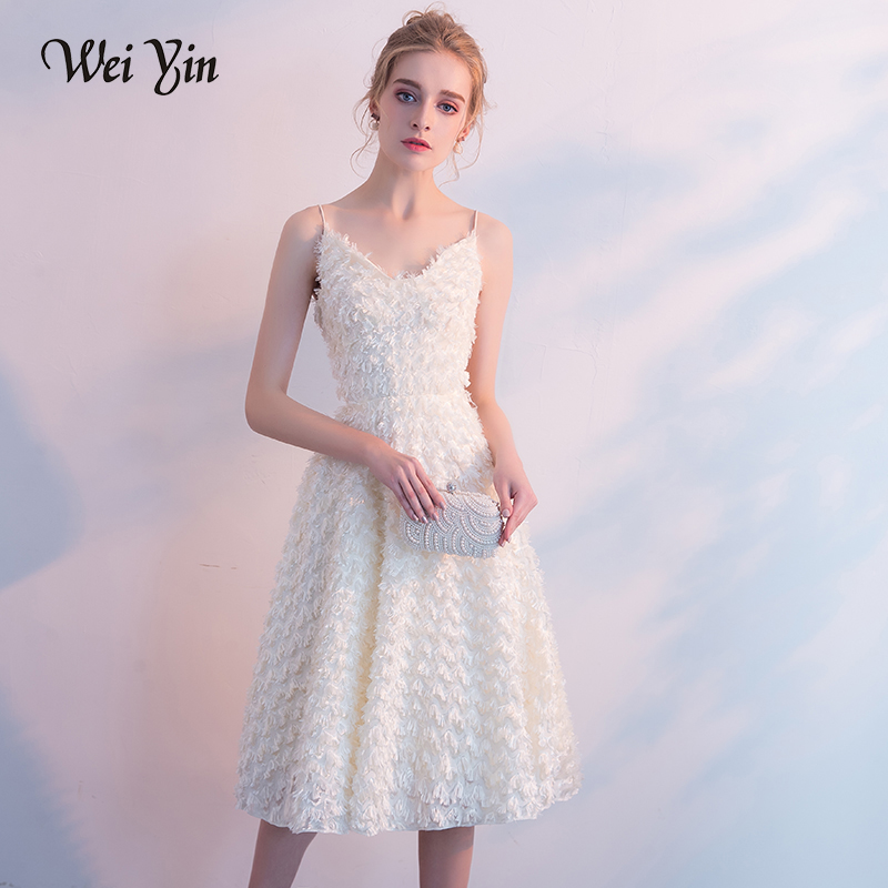 WEIYIN Robe De Soiree Simple   Prom     Dresses   Sexy Strap Backless V-neck Knee-length Sleeveless Champagne Formal Party Gown