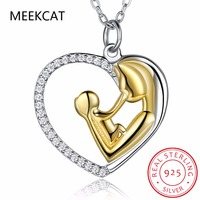 MEEKCAT 925 Sterling Silver Mother Child Necklace Mom Hold Child Heart Pendants Necklaces Jewelry For Women