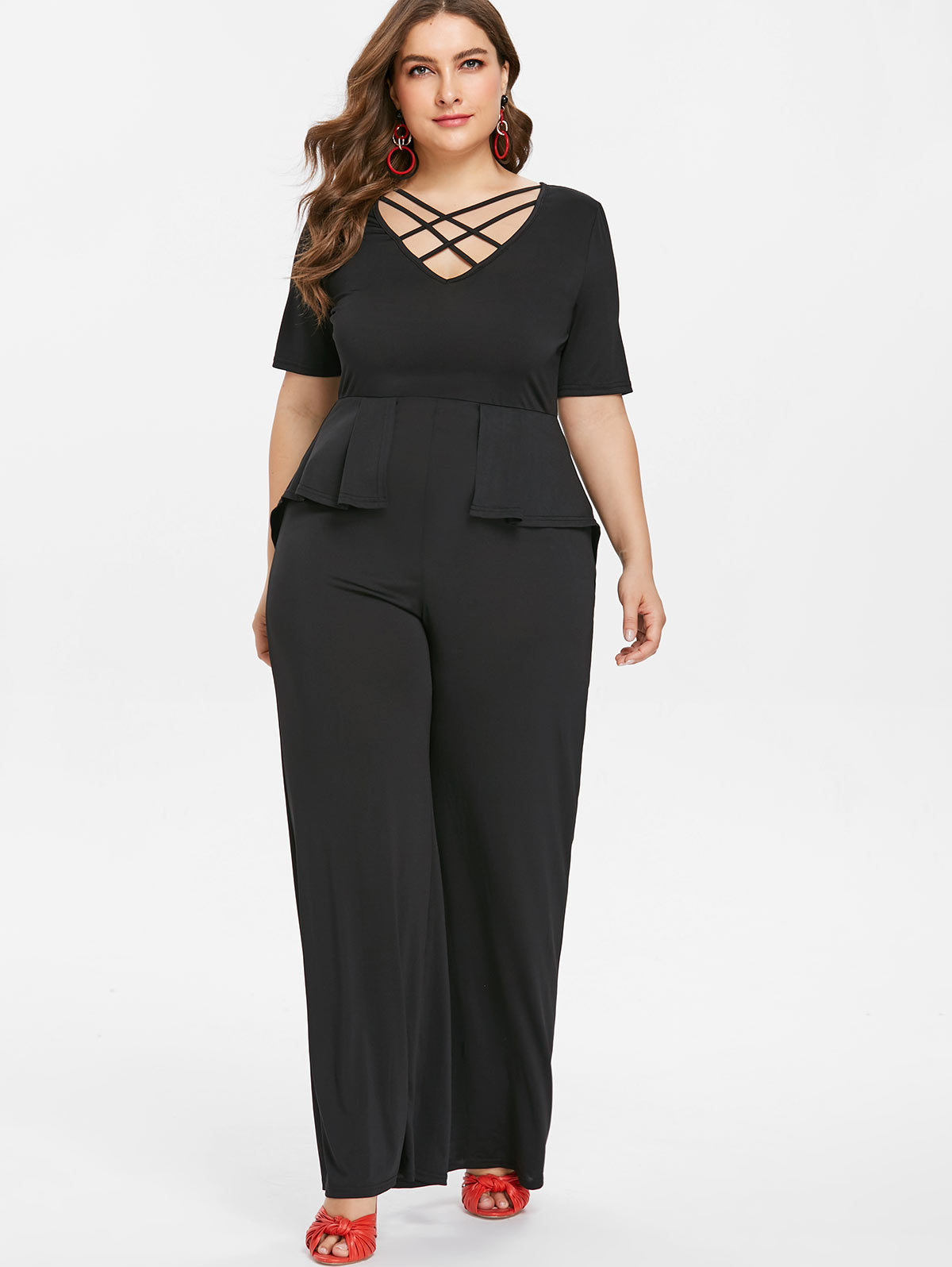 Wipalo Plus Size 5XL V Neck Wide Leg Pants Elegant Jumpsuit Women Black  Short Sleeve Overlay Straight Peplum Jumpsuit Overalls-in Jumpsuits from  Women s ... 77b98e8e165a