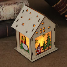 LED Wood Santa Clause House Christmas Tree Ornaments Lamp Cabin Pendant Xmas Gift Decor for Home TB Sale(China)