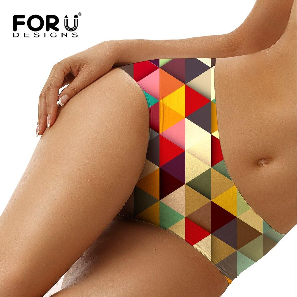 FORUDESIGNS Women Sexy Seamless Panties 3D Geometric Printing Underwear Female Comfortable Lingerie Panties Mid Rise Calcinhas
