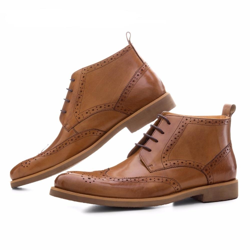 Botas Genuino Moda Negocio Cuero Black De Zapatos brown Oxfords Para marrón Hombre Vestido Negro Botines zqBzHaY