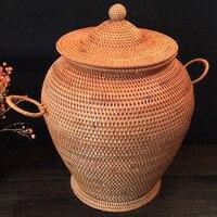 Handmade Home Storage Organization Tea Tin Jar Container Rattan Storage Boxes Pu Er Tea Cake Packing
