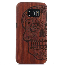 Vinatge Rosewood Real Wood Phone Case for Samsung Galaxy S6 Edge G9250 5.1″ Skull Cross Wolf Flower Compass Phone Cover