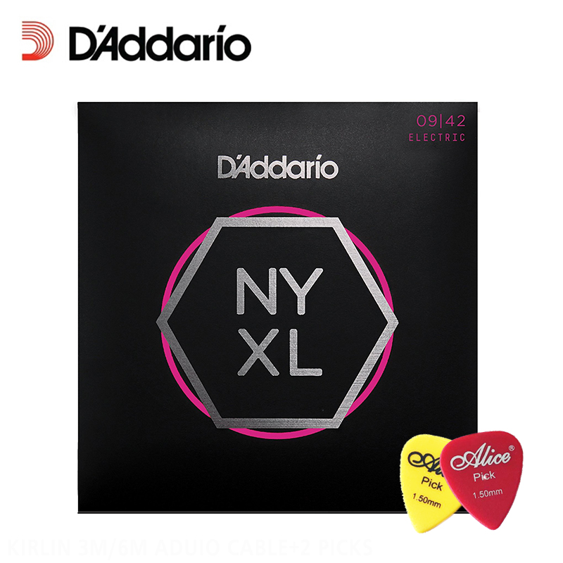 D'Addario NYXL 0942 Nickel Plated Electric Guitar Strings, Extra Light Daddario Guitar Strings (With 2pcs picks) d addario daddario exl110 american made nickel wound electric guitar strings regular light 10 46