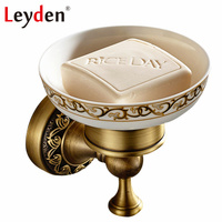 Leyden Antique Brass/ ORB Wall Mounted Soap Dish Holder Ceramic Soap Dishes Copper Bathroom Soap Holder Bathroom Accessories