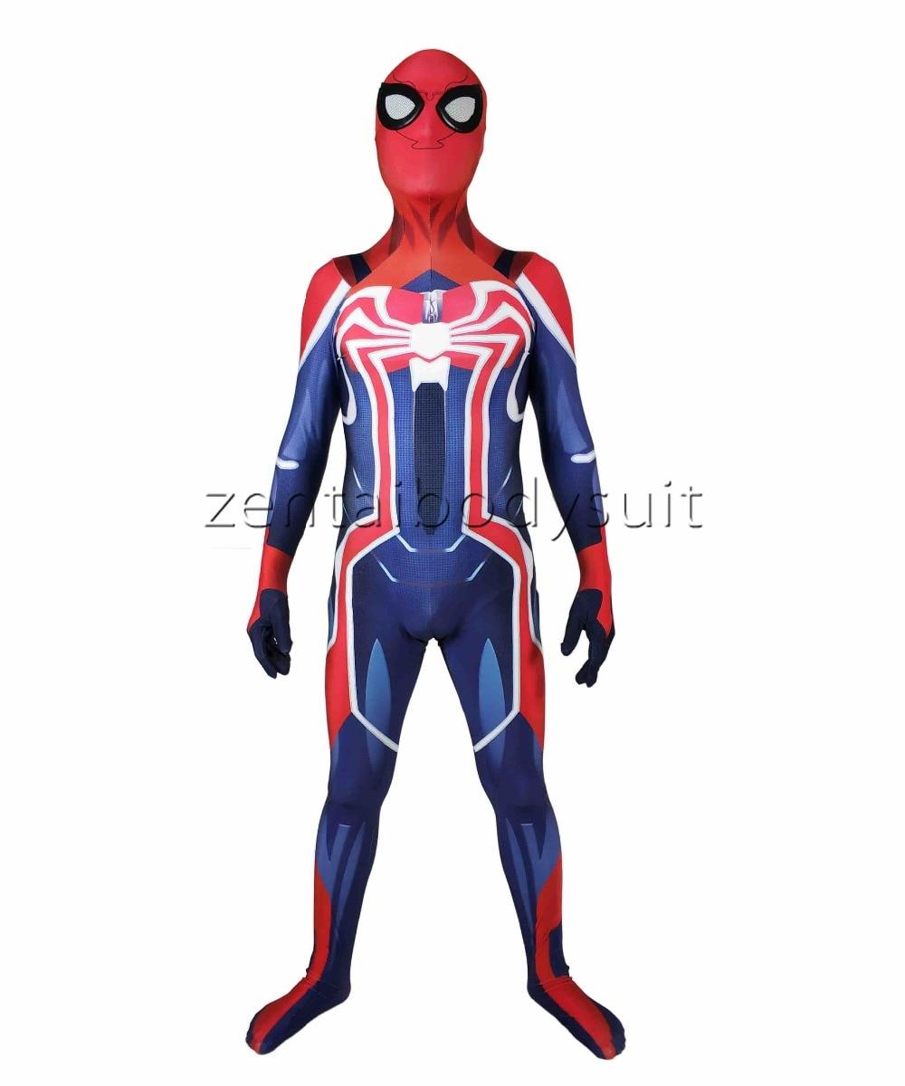 Newest Spiderman PS4 Velocity Costume Spidey Cosplay Halloween Spider-man Costumes Spider Man Superhero Bodysuit Suit Jumpsuits