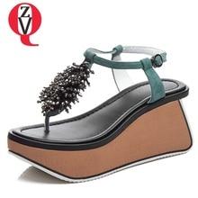 Suede leather t-strap  style wedges platform sandal