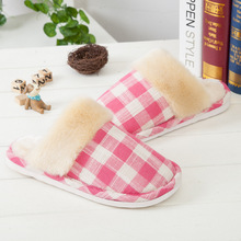 HOT SALES! High Quality 2016 Winter Plaid Warm Home Slippers Couples Leisure Women Men Indoor Floor Slippers Comfortable Pantufa