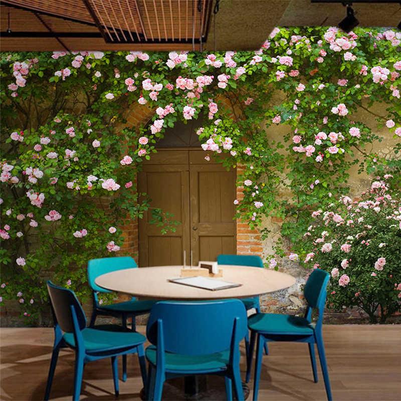 Papel دي Parede الأزهار الرجعية الرعوية نمط روز خلفية خلفيات الحليب الشاي كعكة متجر مقهى مطعم رومانسية ديكور 3D جدارية