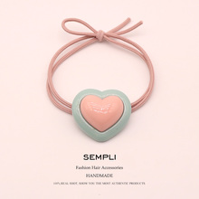 Sempli Glossy Acrylic multicolor Love Pendant High Elastic Rope Nylon Hair Bands for Women Rubber Tight Scrunch Accessories