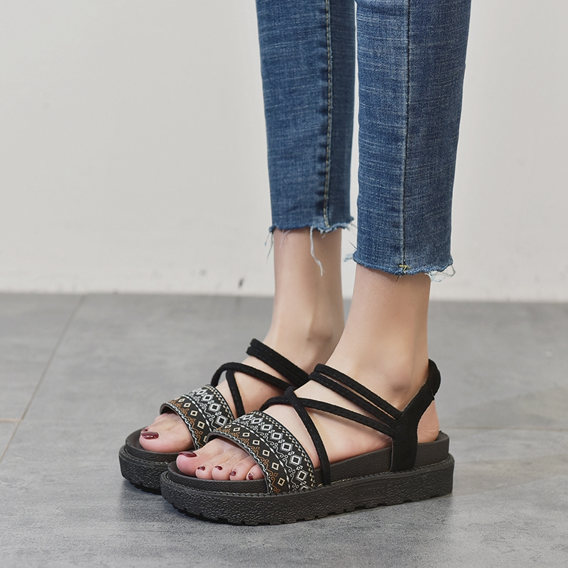 COOTELILI Bohemian Summer Shoes Women Gladiator Sandals Flat Platforms Woman Causal Wedge Beach Shoes Open Toe
